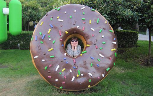 Christina in a Donut - Visiting Google